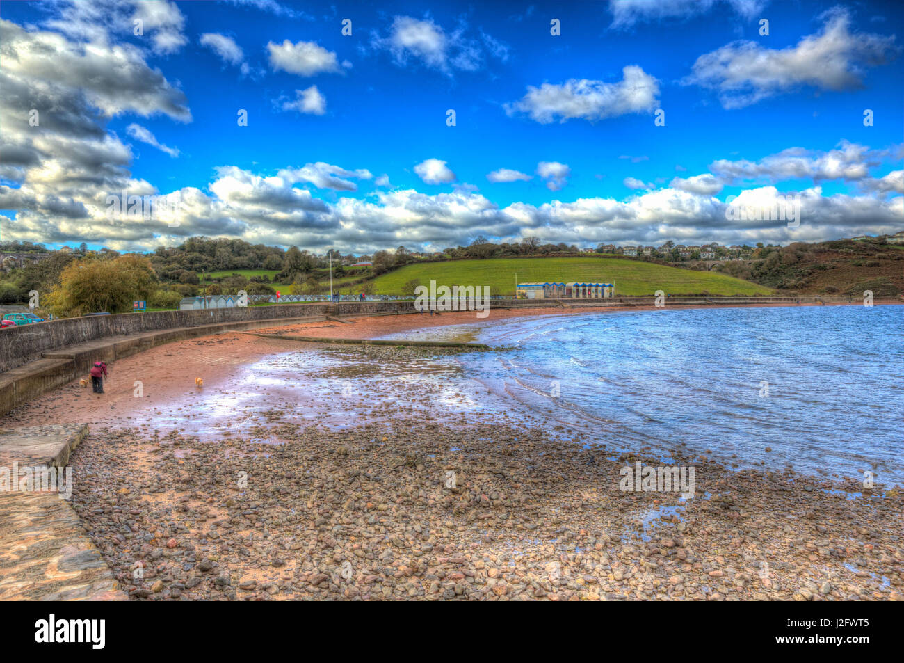 Broadsands beach south of Torquay Devon UK in colourful HDR - Stock Image