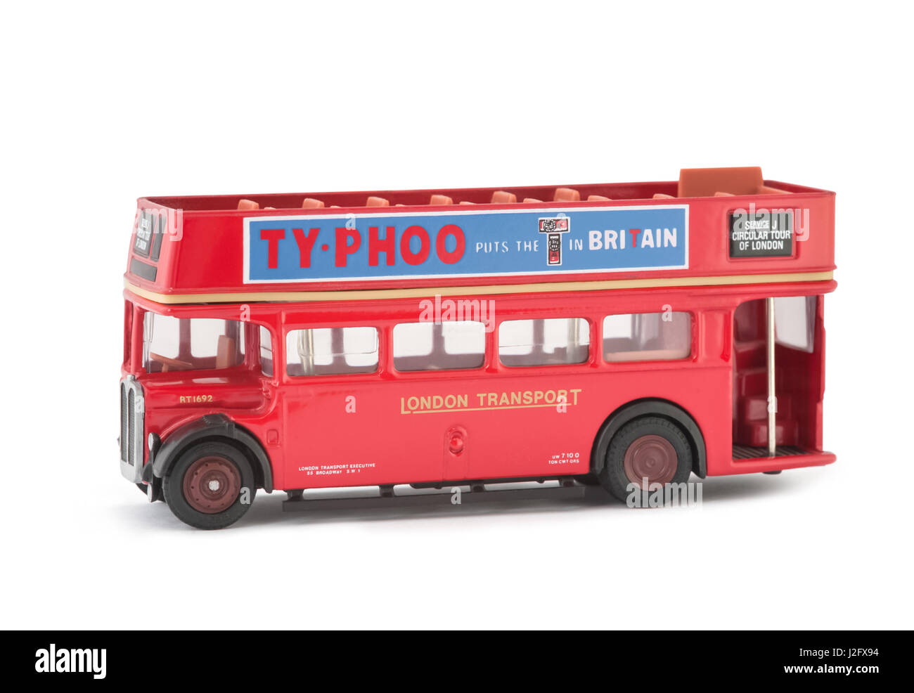Miniature scale model of a vintage London City Tour open top sightseeing bus. The full size original was used for Stock Photo