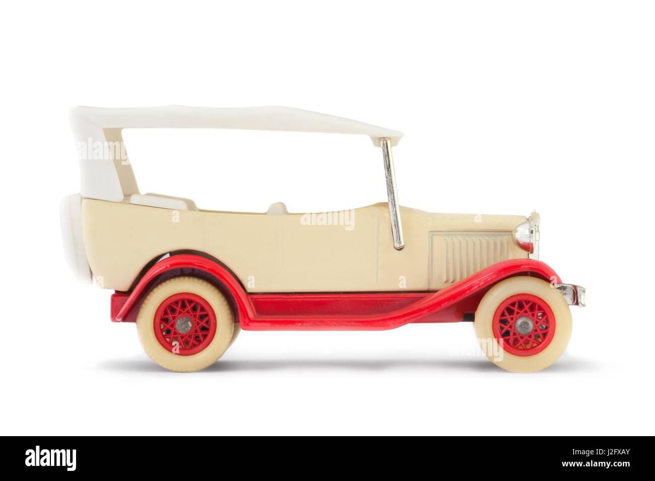 vintage model car isolated on white - Stock Image