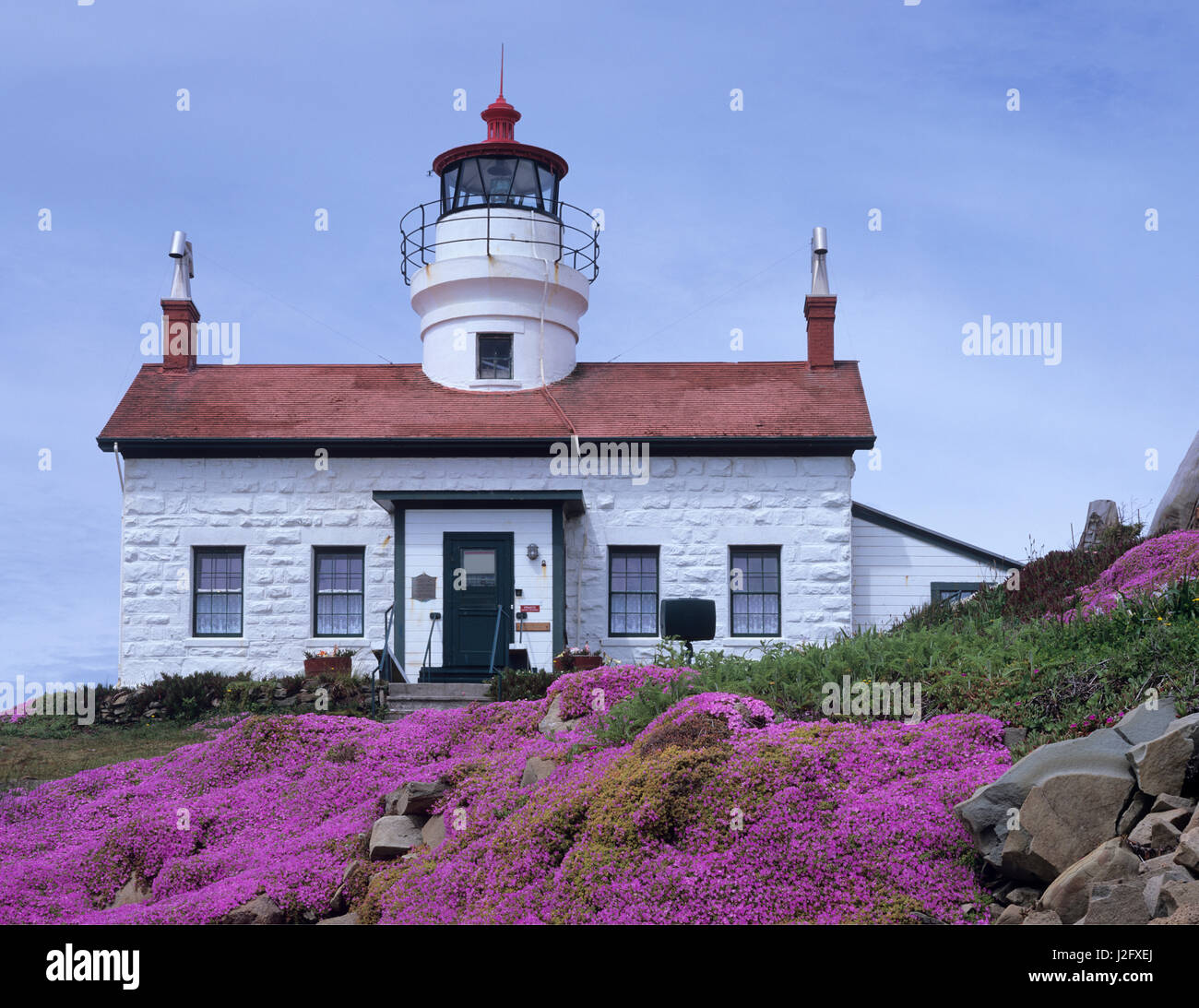CA, Crescent City, Battery Point Lighthouse, with Ice Plant in full bloom, built in 1856 Stock Photo