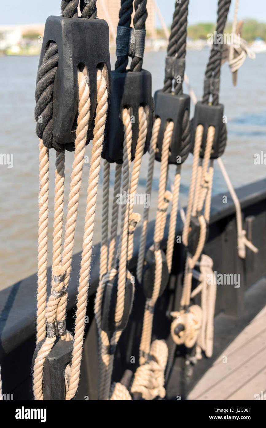 USA, Georgia, Savannah, caravel, Pinta, Savannah River - Stock Image
