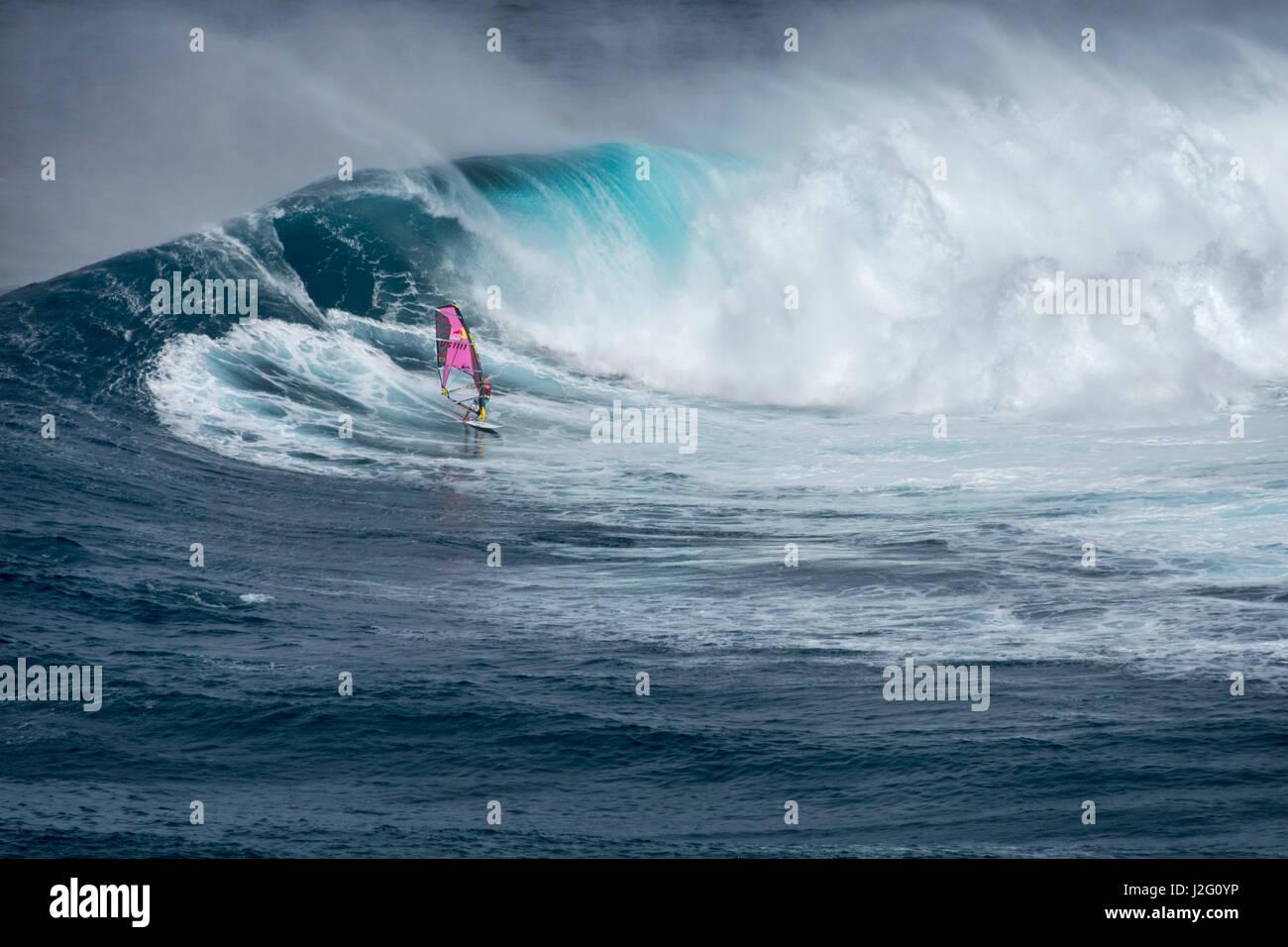33c6edea0 World champion Robby Naish windsurfing monster waves at Pe ahi Jaws