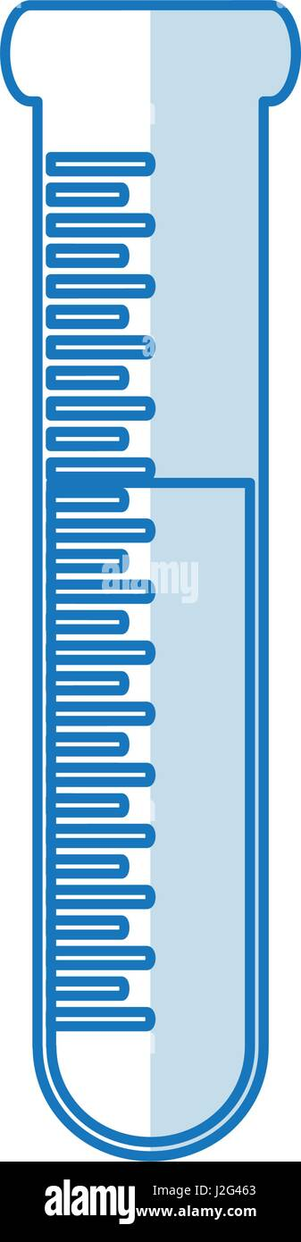 blue silhouette shading test tube icon microbiology equipment - Stock Image