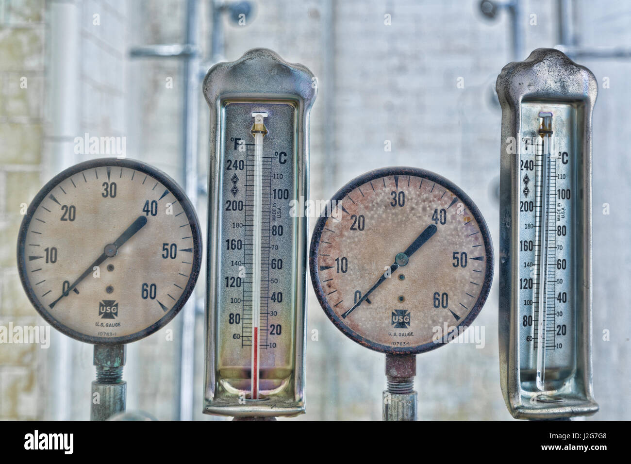 USA, Arkansas, Hot Springs. Plumbing gauges at Fordyce Bath House ...