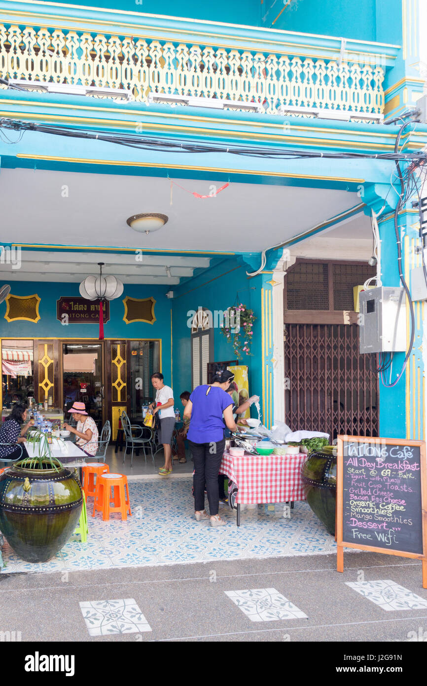 The Taitong Cafe in a restored Sino Portuguese architecture shophouse in Old Phuket Town - Stock Image