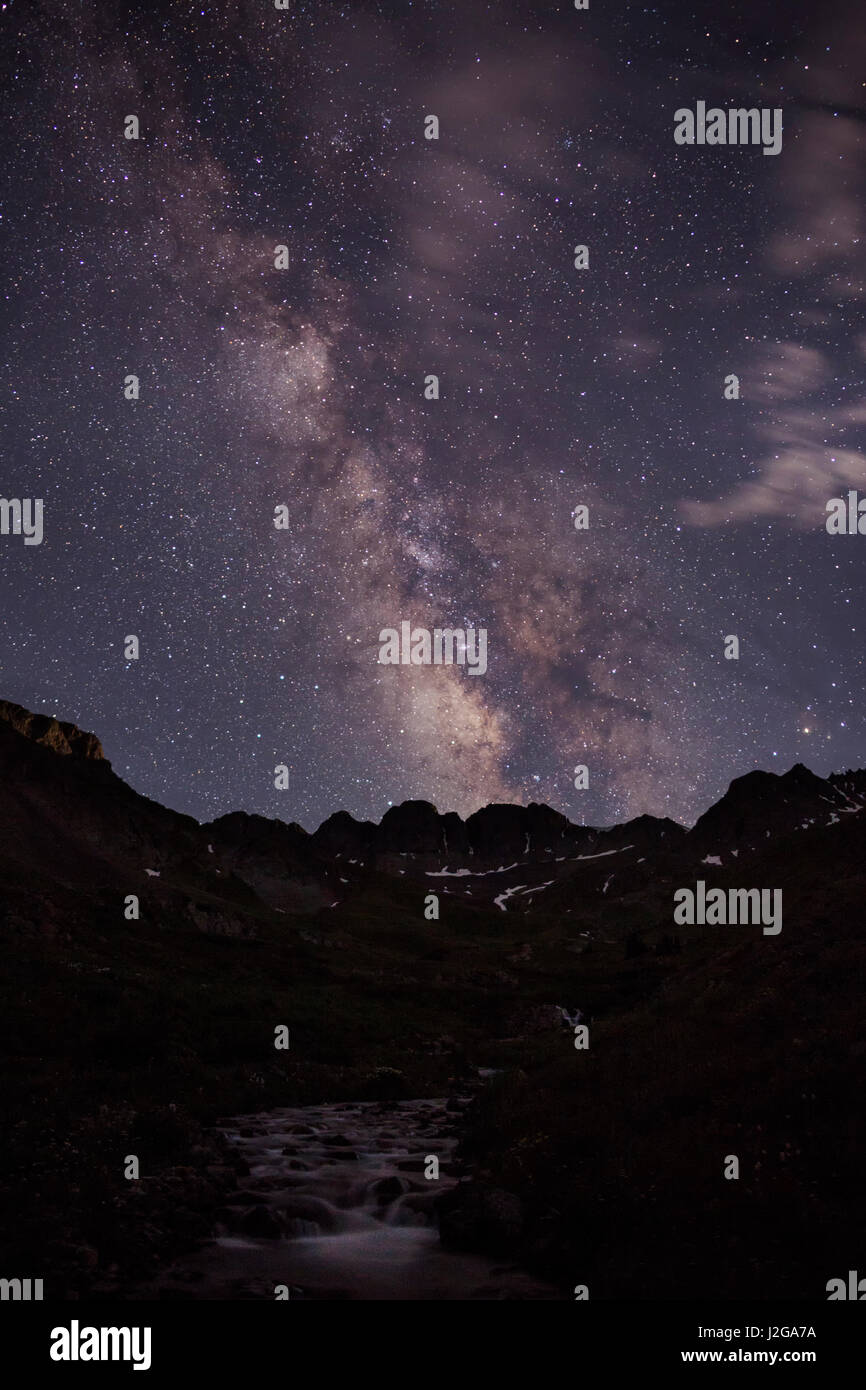 USA, Colorado, San Juan Mountains. Milky Way and mountain silhouette. Credit as: Don Grall / Jaynes Gallery / DanitaDelimont.com - Stock Image