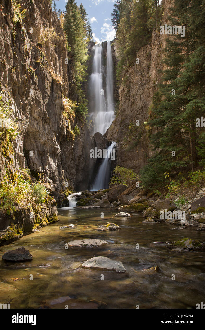 USA, Colorado, Uncompahgre National Forest. Hidden waterfall and stream. Credit as: Don Grall / Jaynes Gallery / - Stock Image