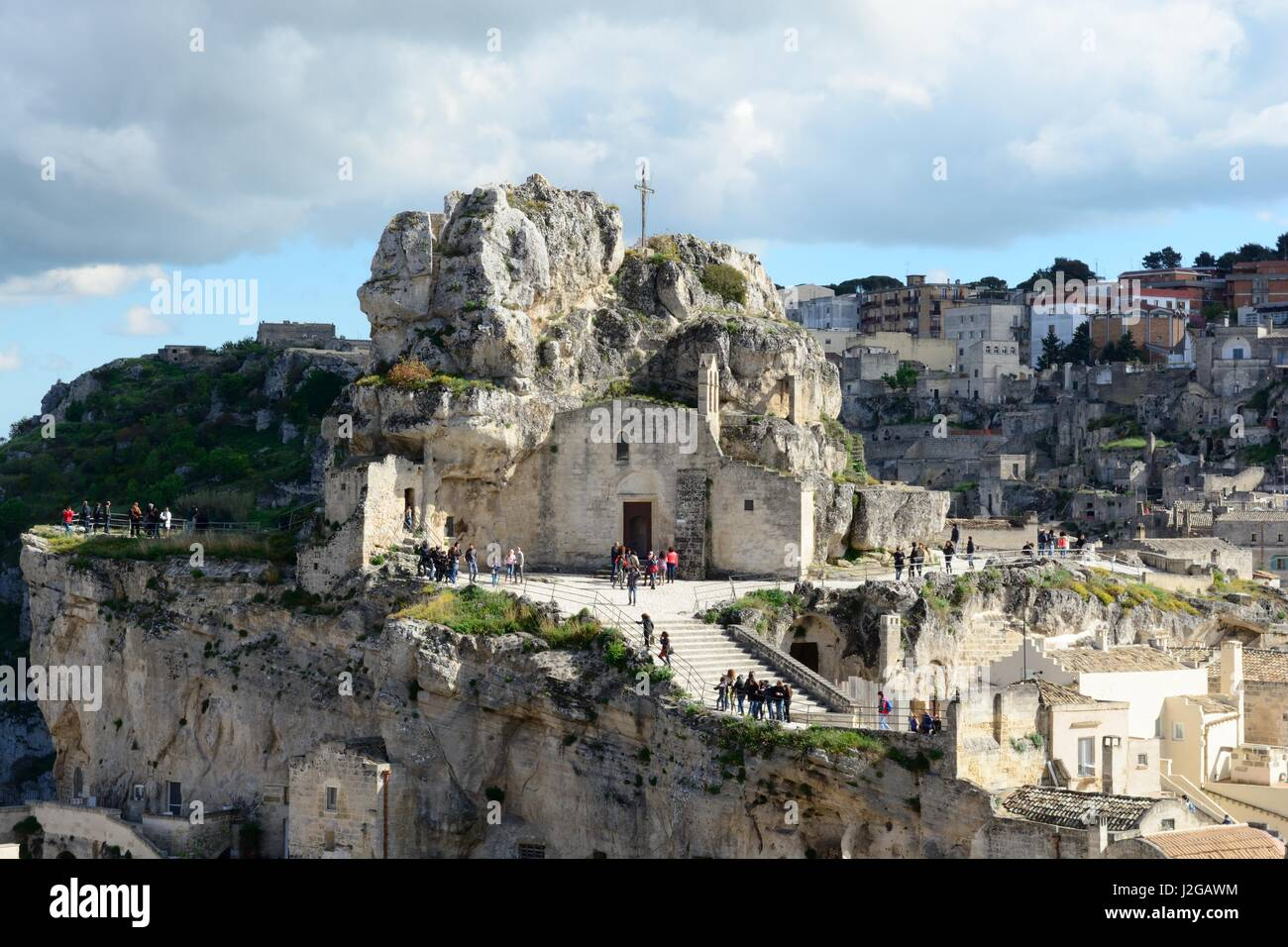 Ancient  rock-church of Madonna de Idris or Cave Church of Lucia de Malve also known as St Lucy Matera italy Stock Photo