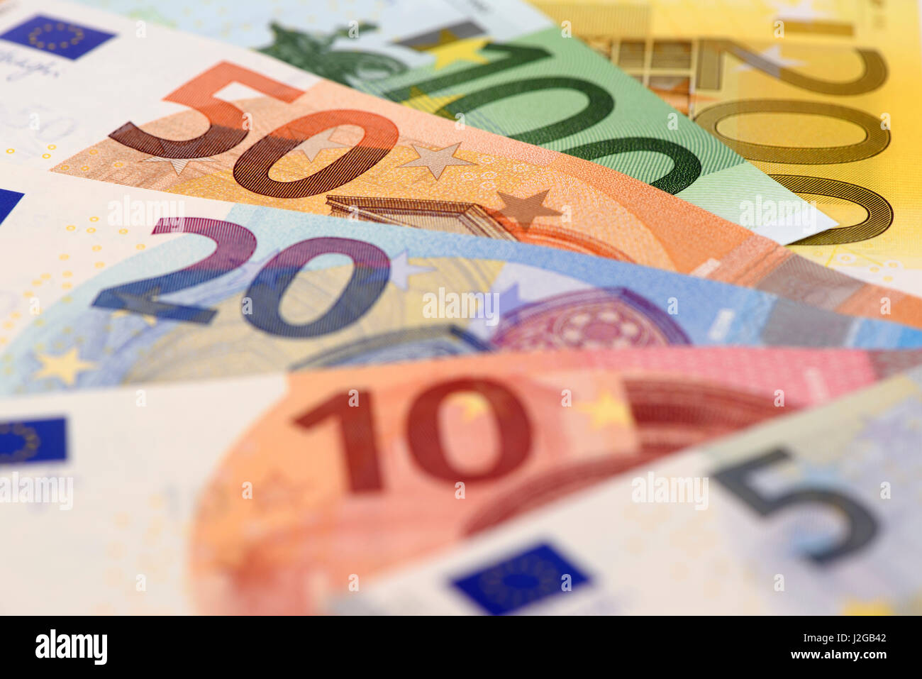 Euro banknotes and currency of Europe - Stock Image