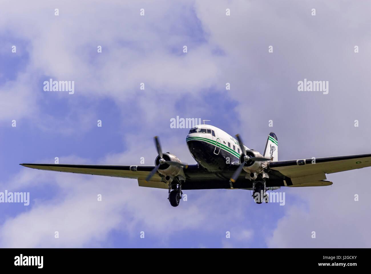 Air Atlantique Dakota. DC3 in flight. Stock Photo