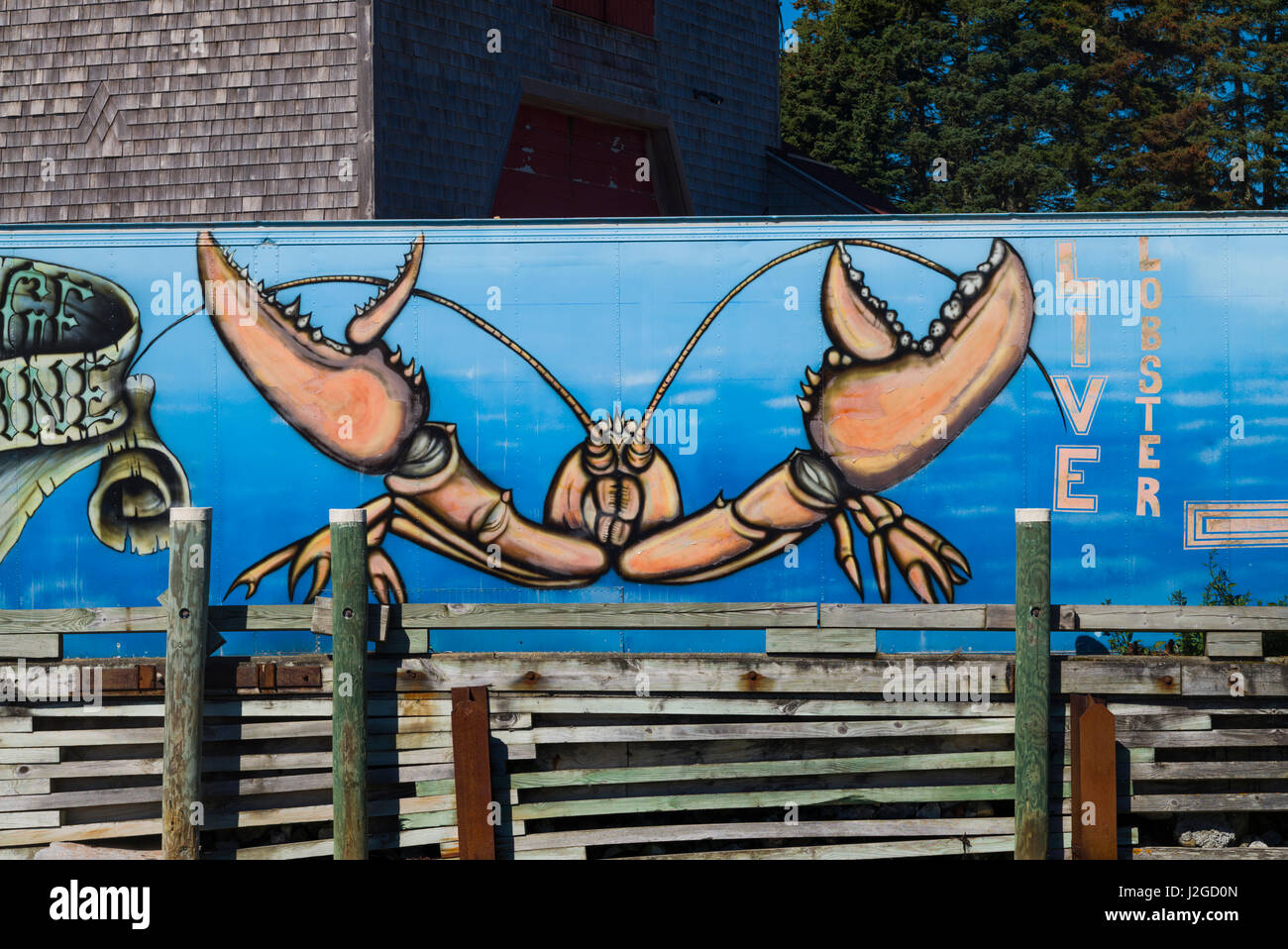 USA, Maine, Port Clyde, lobster mural - Stock Image