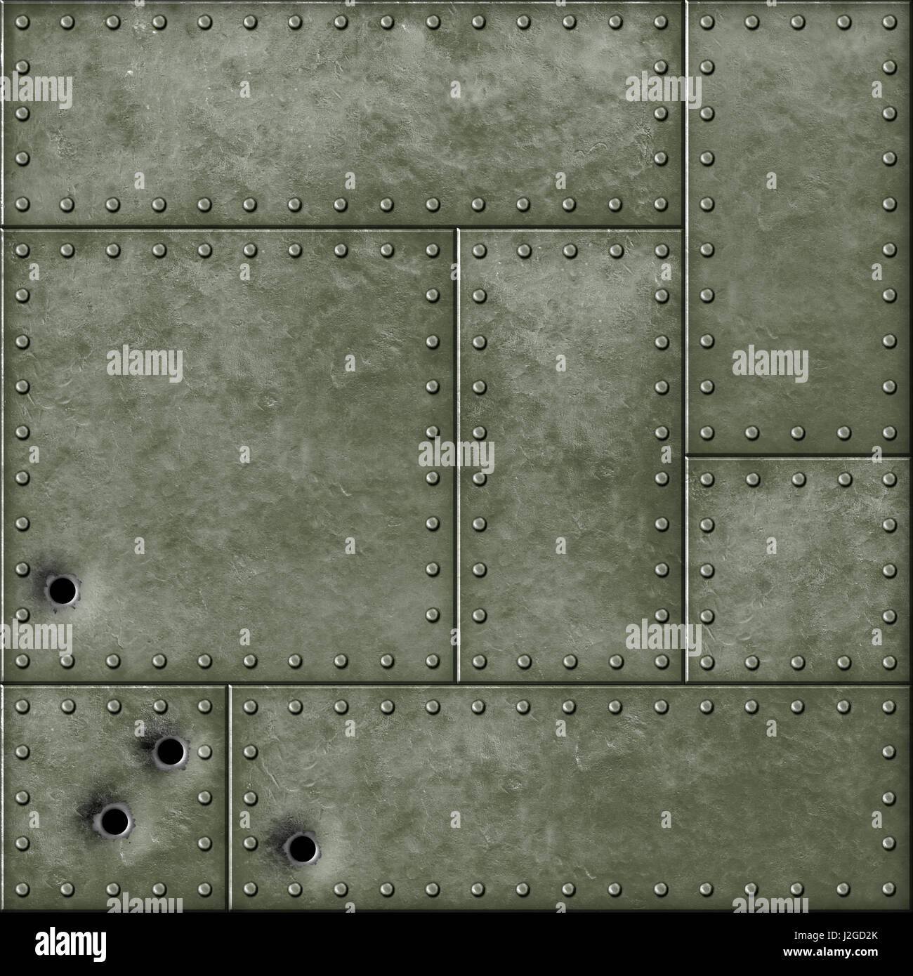 Military Metal Plate And Bullet Holes 3d Illustration Stock