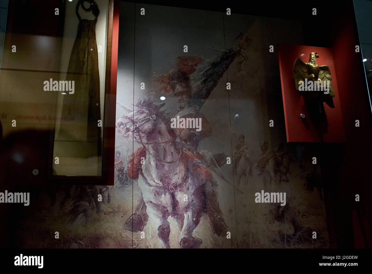 The French Eagle captured by Sgt Ewart of The Scots Greys during the battle of Waterloo in 1815 on display in Edinburgh - Stock Image