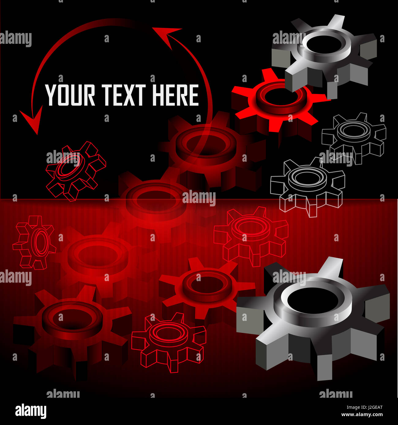 Industrial background with gear wheel. Place for text. Vector illustration - Stock Image