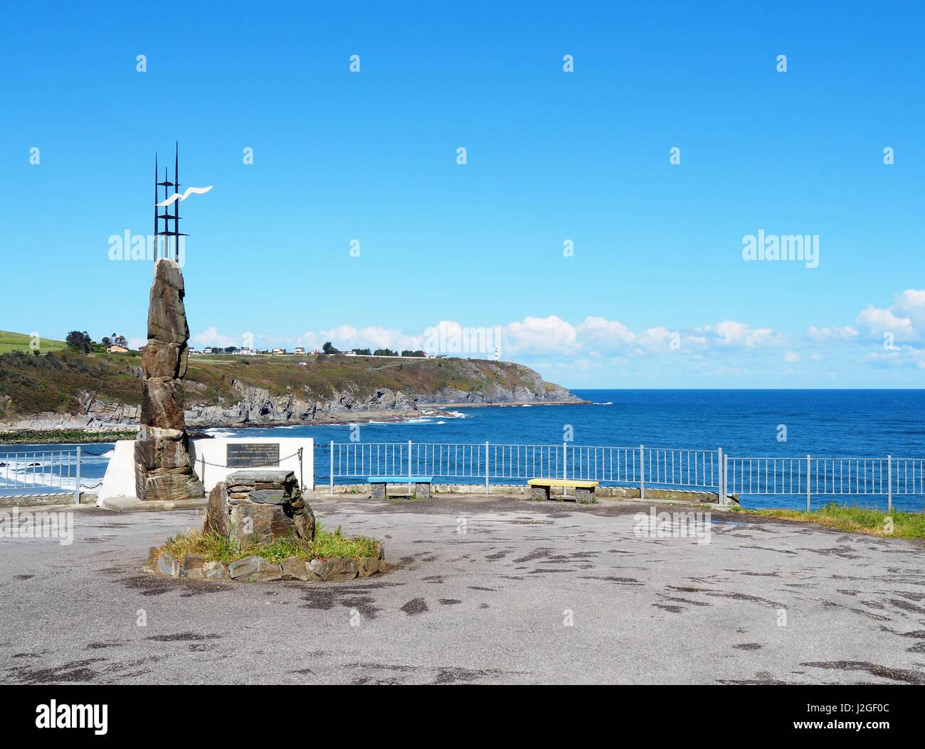 Emigrant monument in Navia, Spain - Stock Image