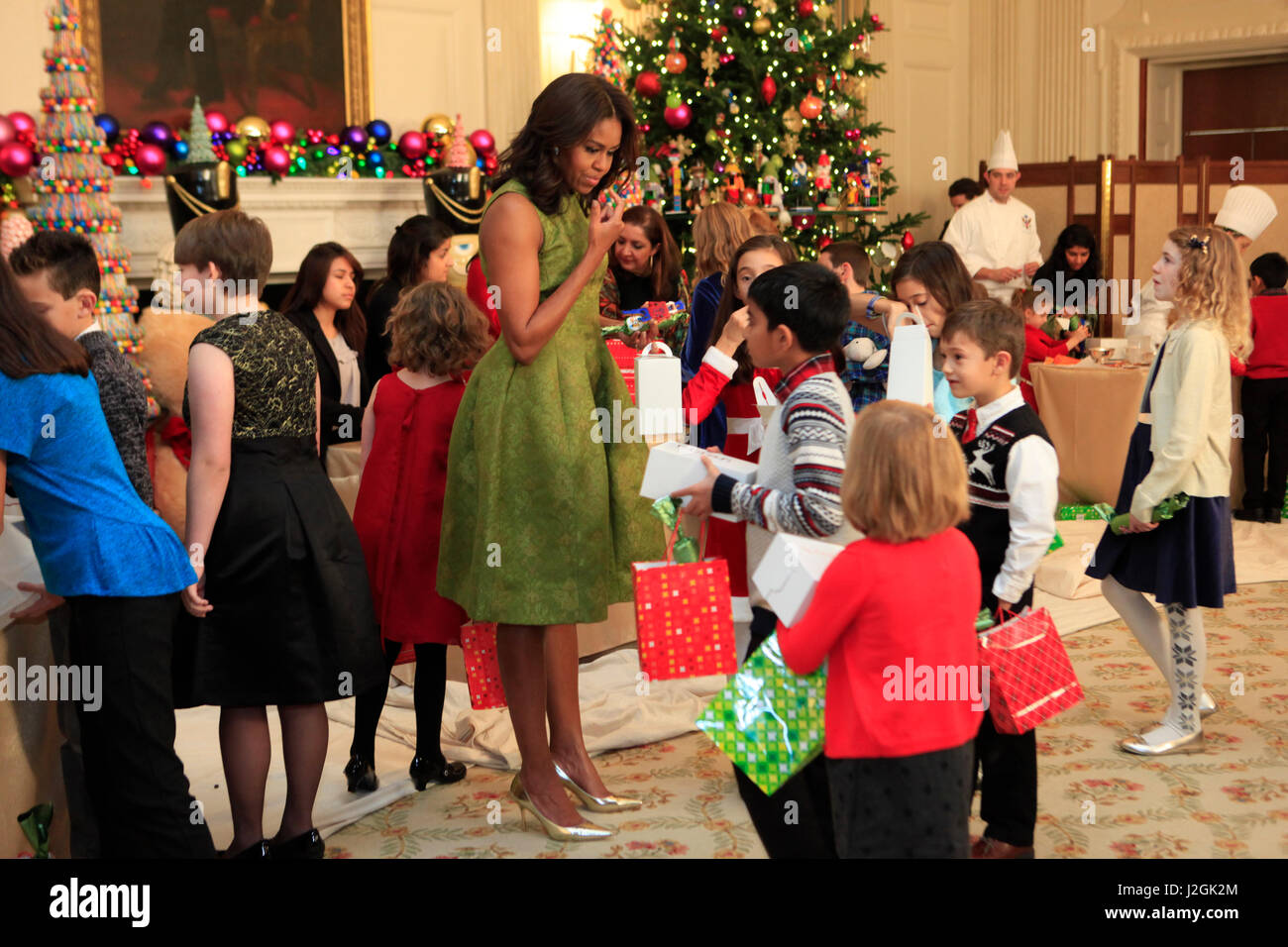 Michelle Obama at an Christmas event for the children of service members. - Stock Image