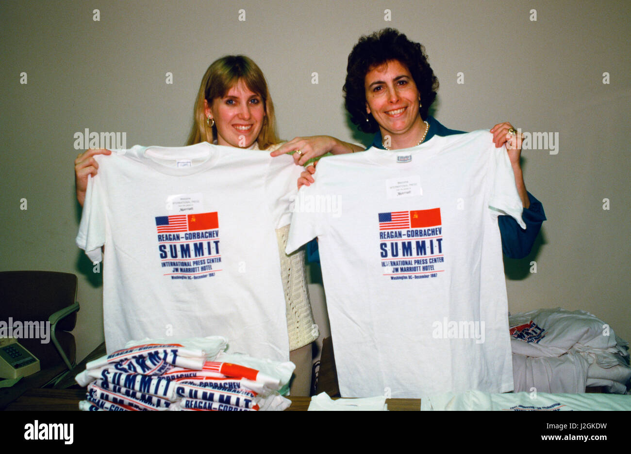 Free Tee Shirts given away at the J W Marriott Hotel at the Reagan Gorbachev Summit in December 1987. - Stock Image