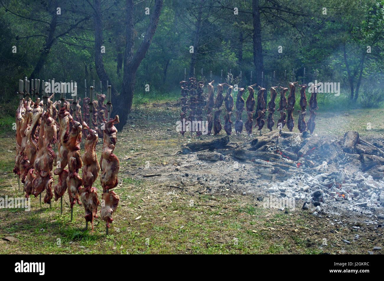 Bidonì, Sardinia. Easter Monday village festival: lamb roasted Stock Photo