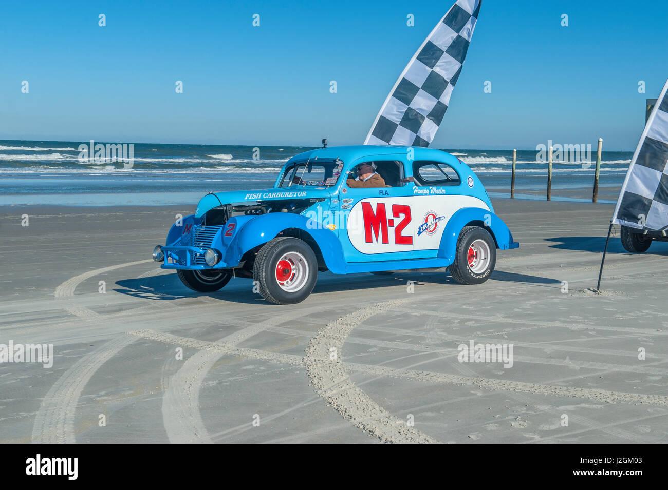 Antique NASCAR car, North Turn, Ponce Inlet, Florida, USA - Stock Image