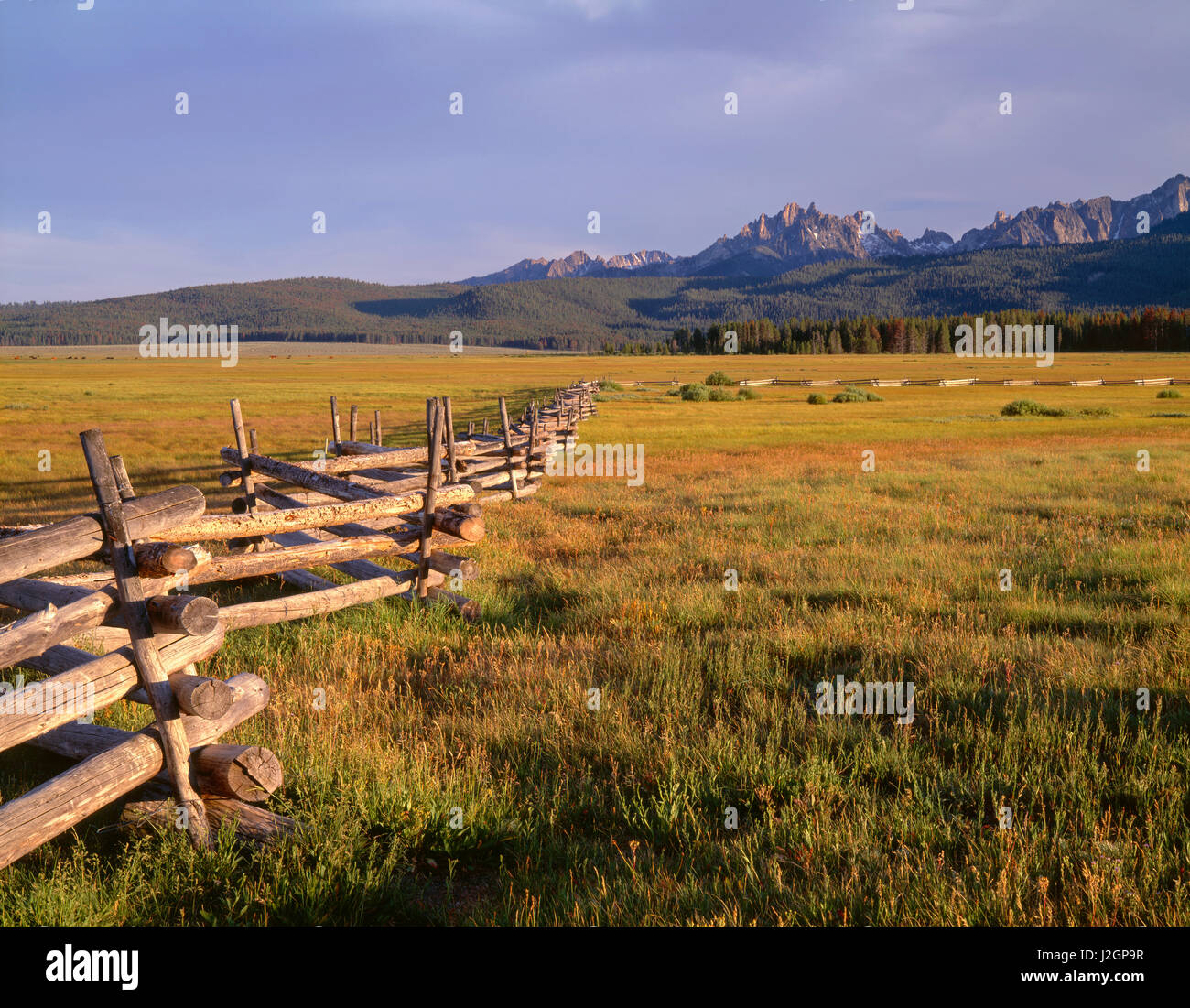 USA, Idaho, Sawtooth National Recreation Area, Weathered fence crosses pastureland beneath forested hills and peaks - Stock Image