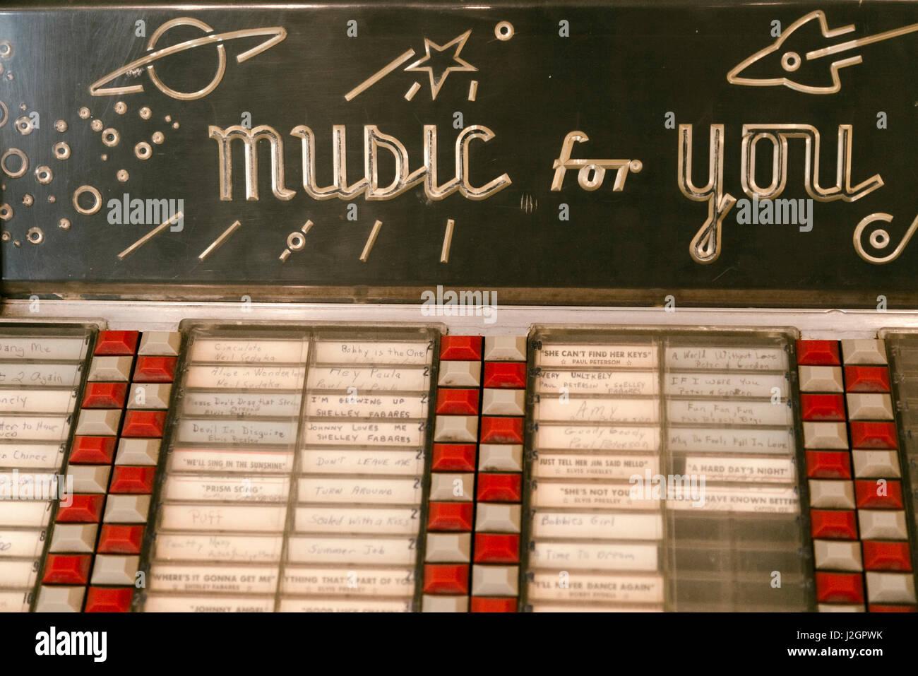 Litchfield, Illinois, USA. Route 66 Vintage juke box - Stock Image