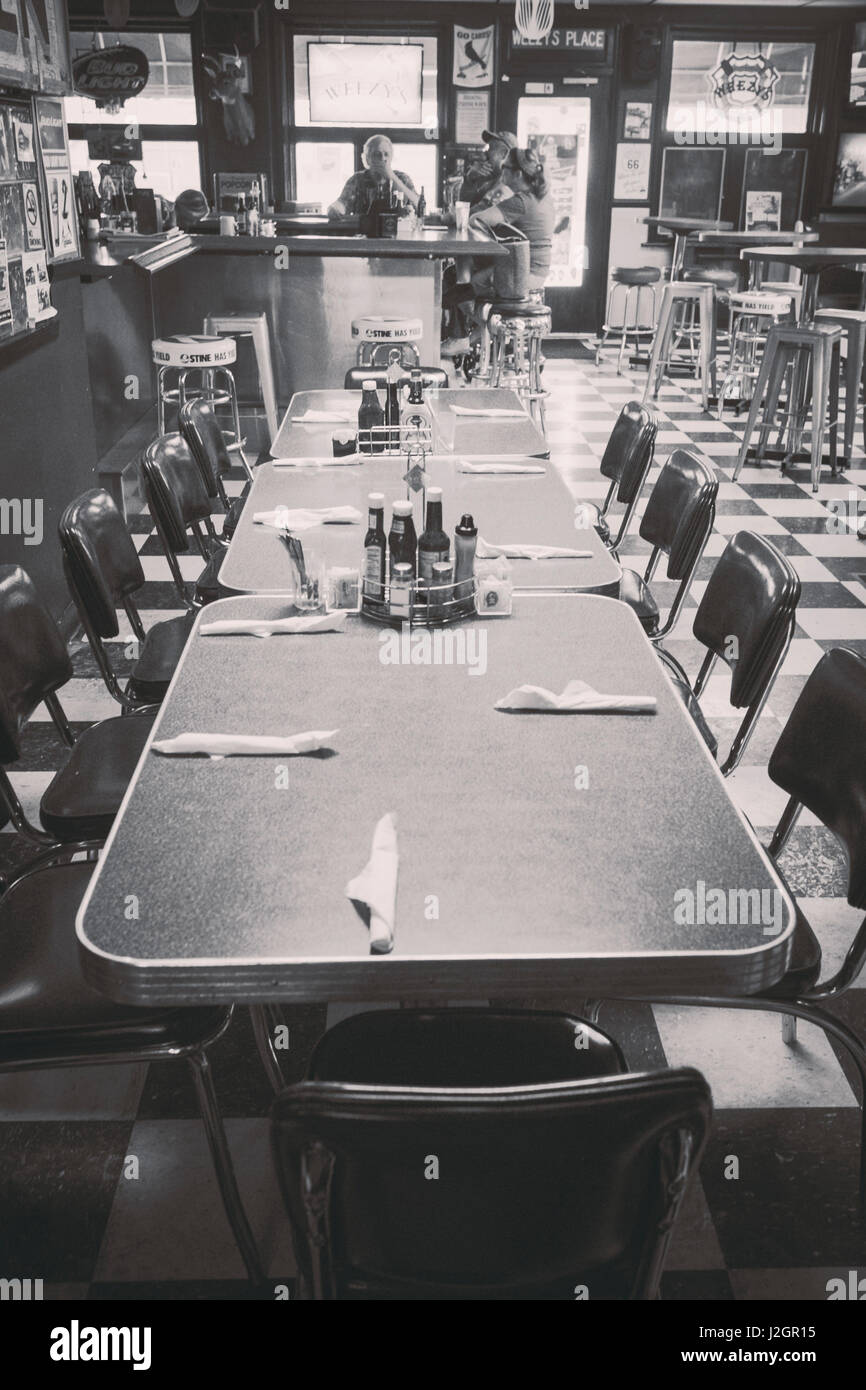 Black and white images of the interior of a diner, Mitchell, Illinois, USA. Route 66 - Stock Image