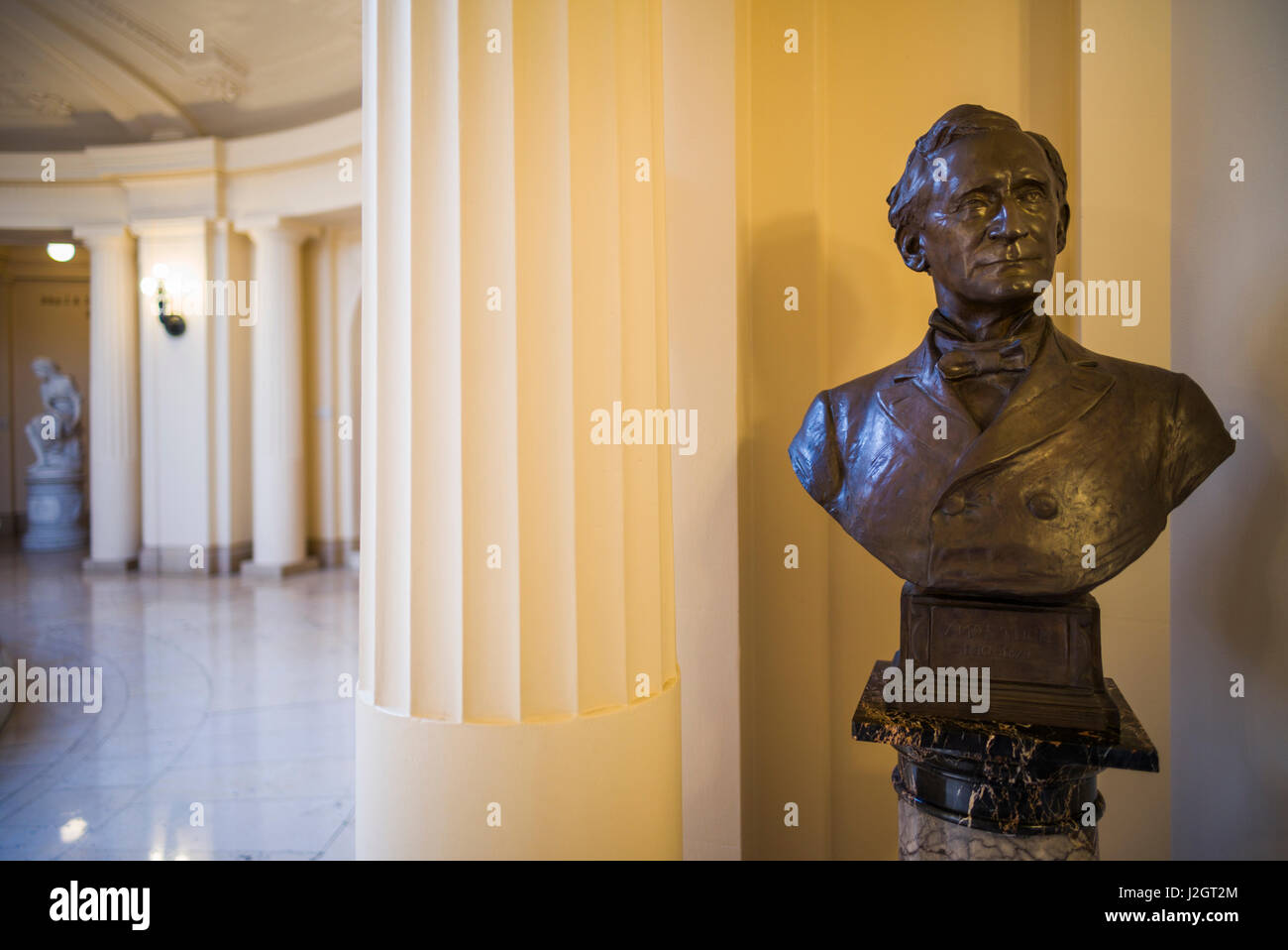 USA, New Hampshire, Concord, New Hampshire State Historical Society Museum, bust of Amos Tuck, founder of the US - Stock Image