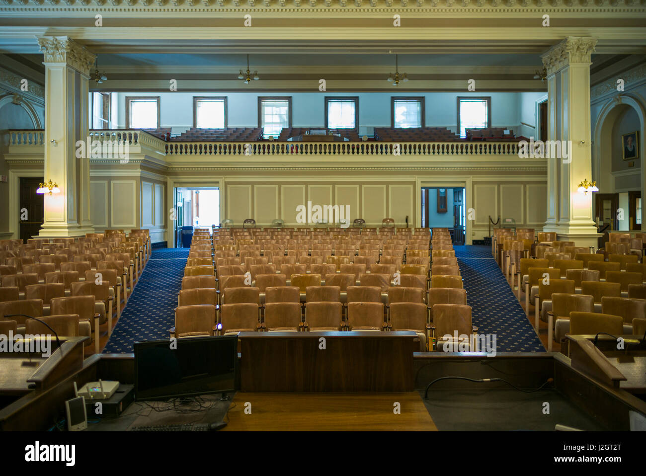 USA, New Hampshire, Concord, New Hampshire State House, interior of the chamber of the state house of representatives - Stock Image