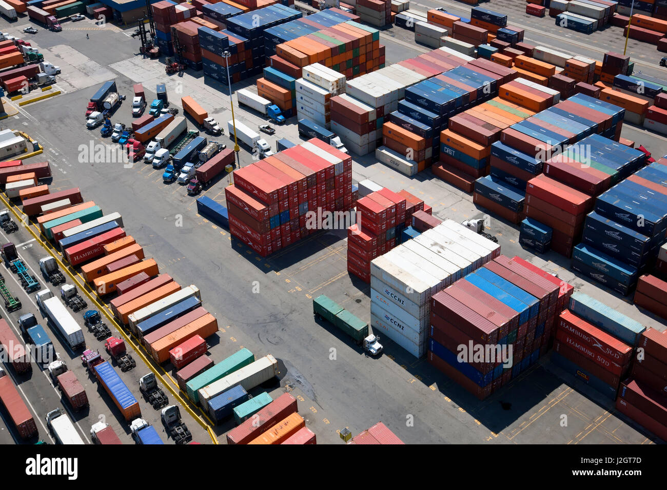 Aerial view of container port, Bayonne, New Jersey, U.S.A. Stock Photo