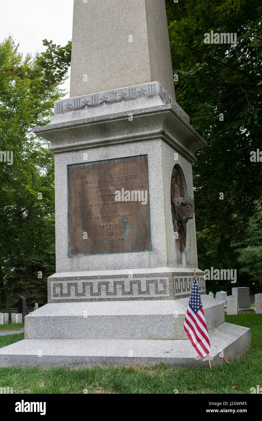 New York, West Point. West Point cemetery. General George Armstrong Custer grave site. Union cavalry commander killed Stock Photo