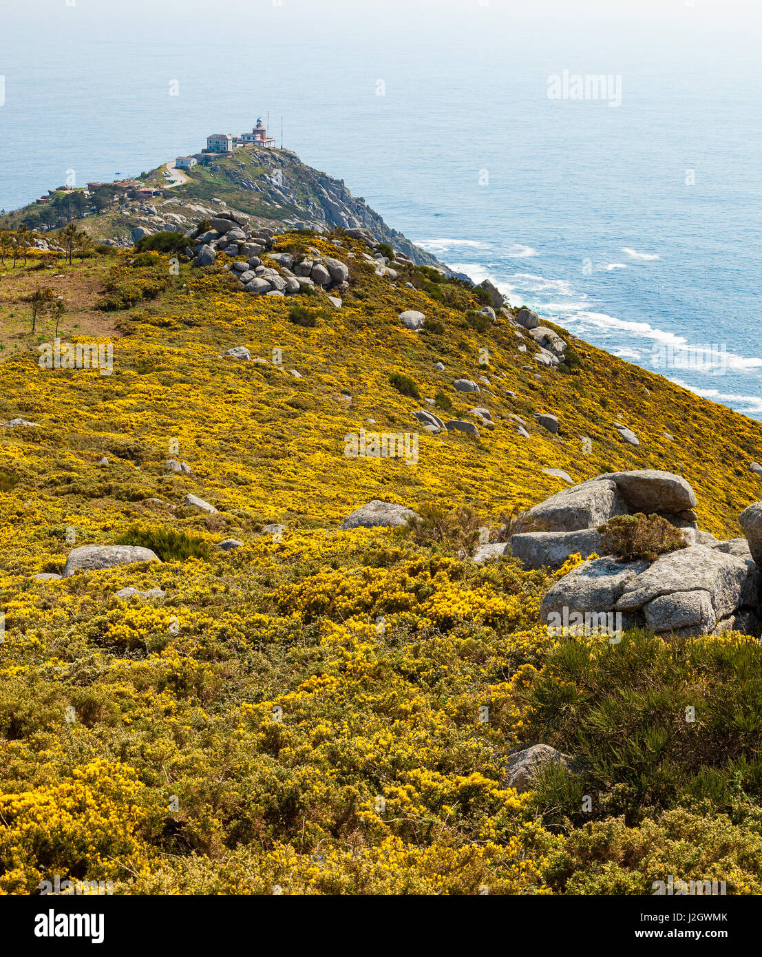 View of Cape Finisterre, La Coruna, Spain. The most western point in Europe and end of the pilgrim route to Santiago. - Stock Image