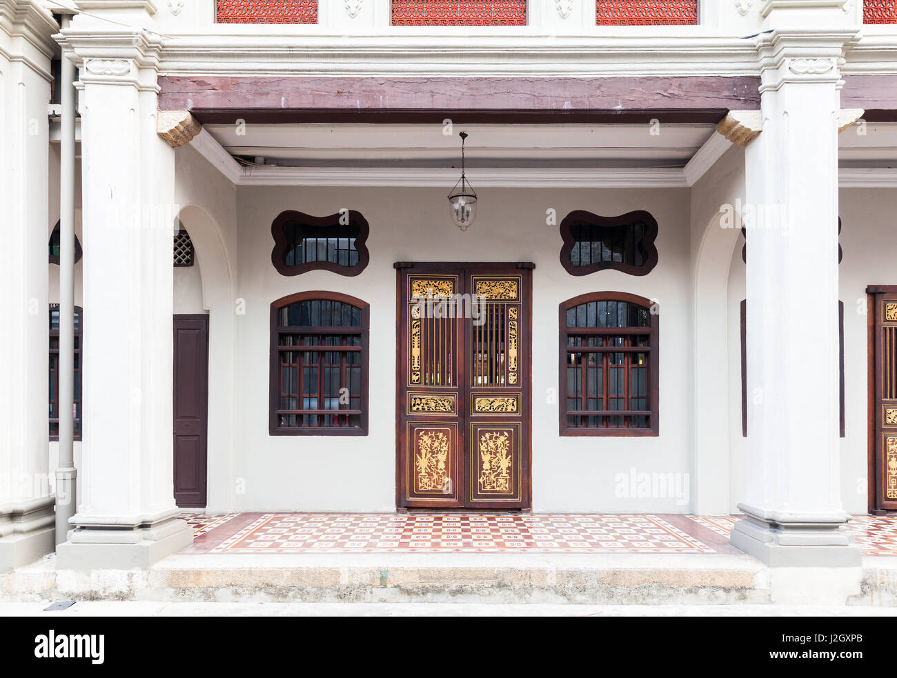 GEORGE TOWN, MALAYSIA - MARCH 22: Facade of the old historial shophouse on March 22, 2016 in George Town, Malaysia. - Stock Image