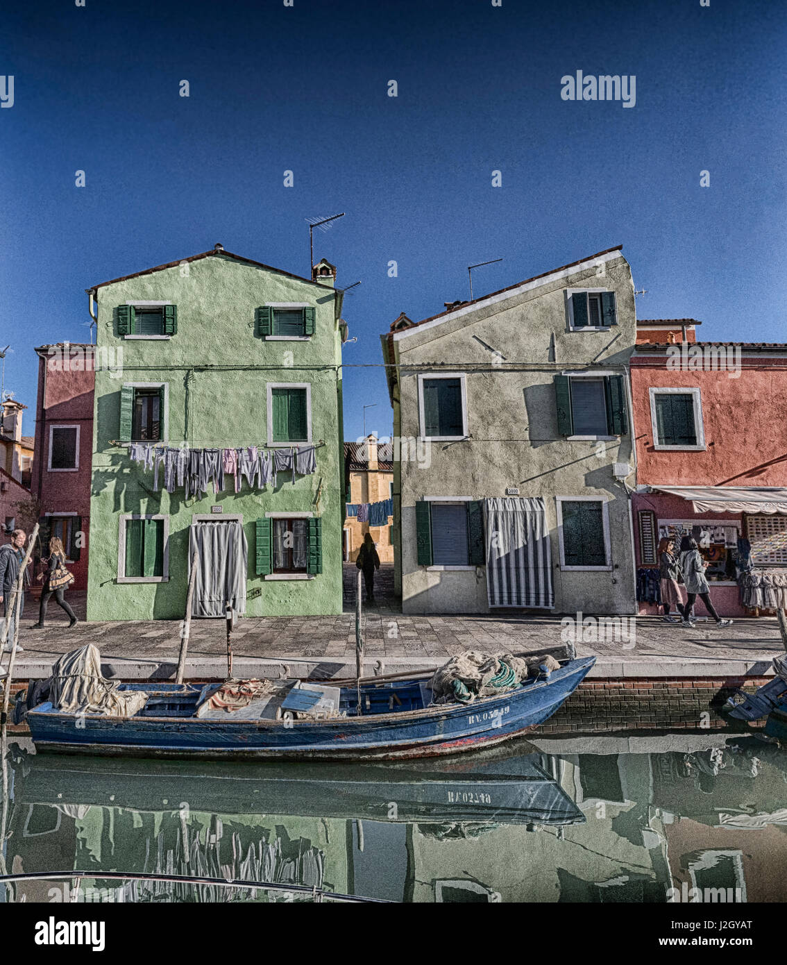 Pastels from the beautiful Island of Burano, Italy. I created these with texture as I felt that I was missing some - Stock Image