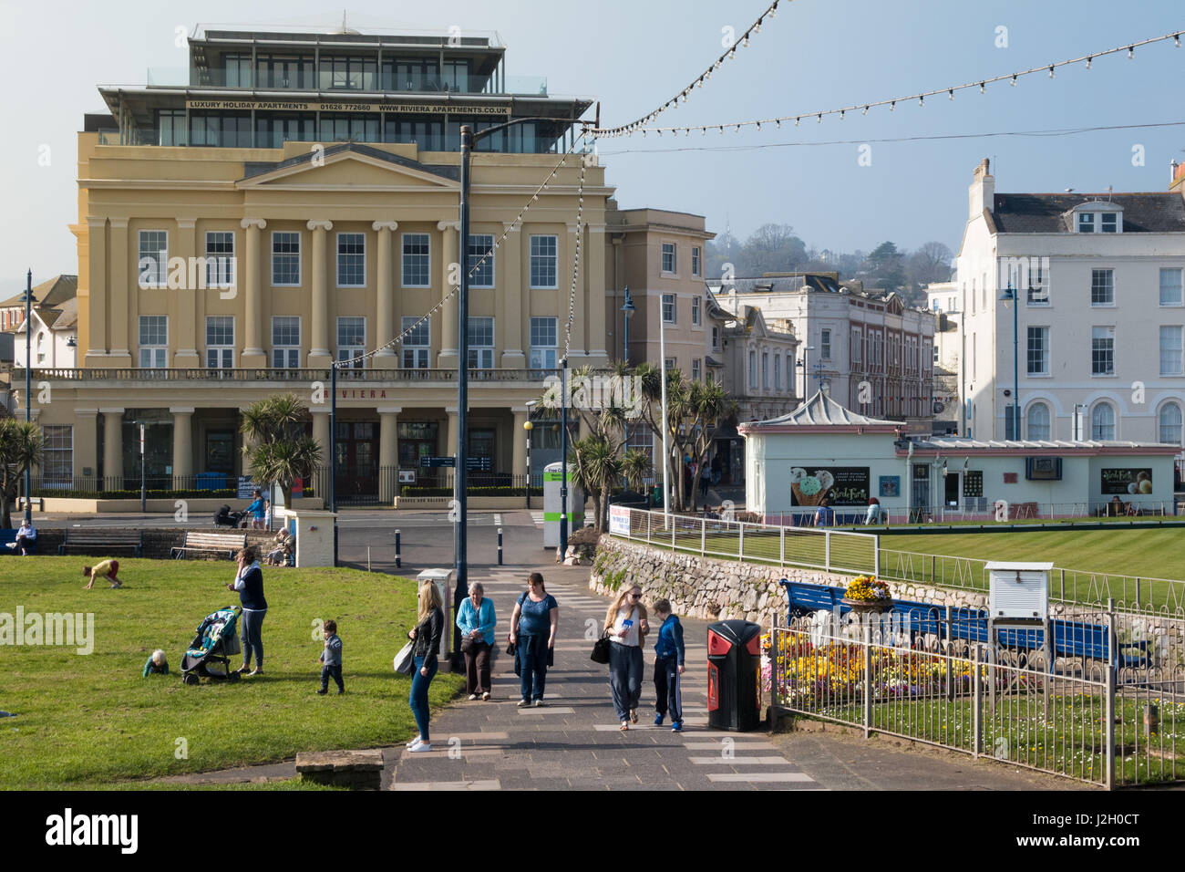 The Old Riviera Cinema In Teignmouth Devon UK With People Walking