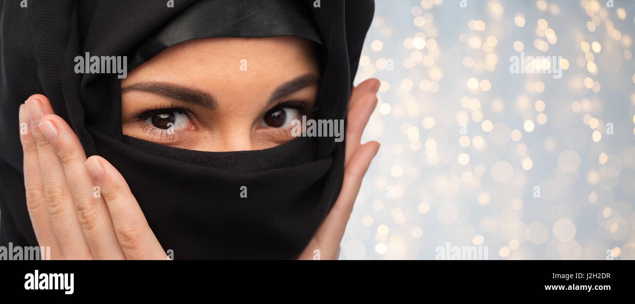 close up of muslim woman in hijab - Stock Image