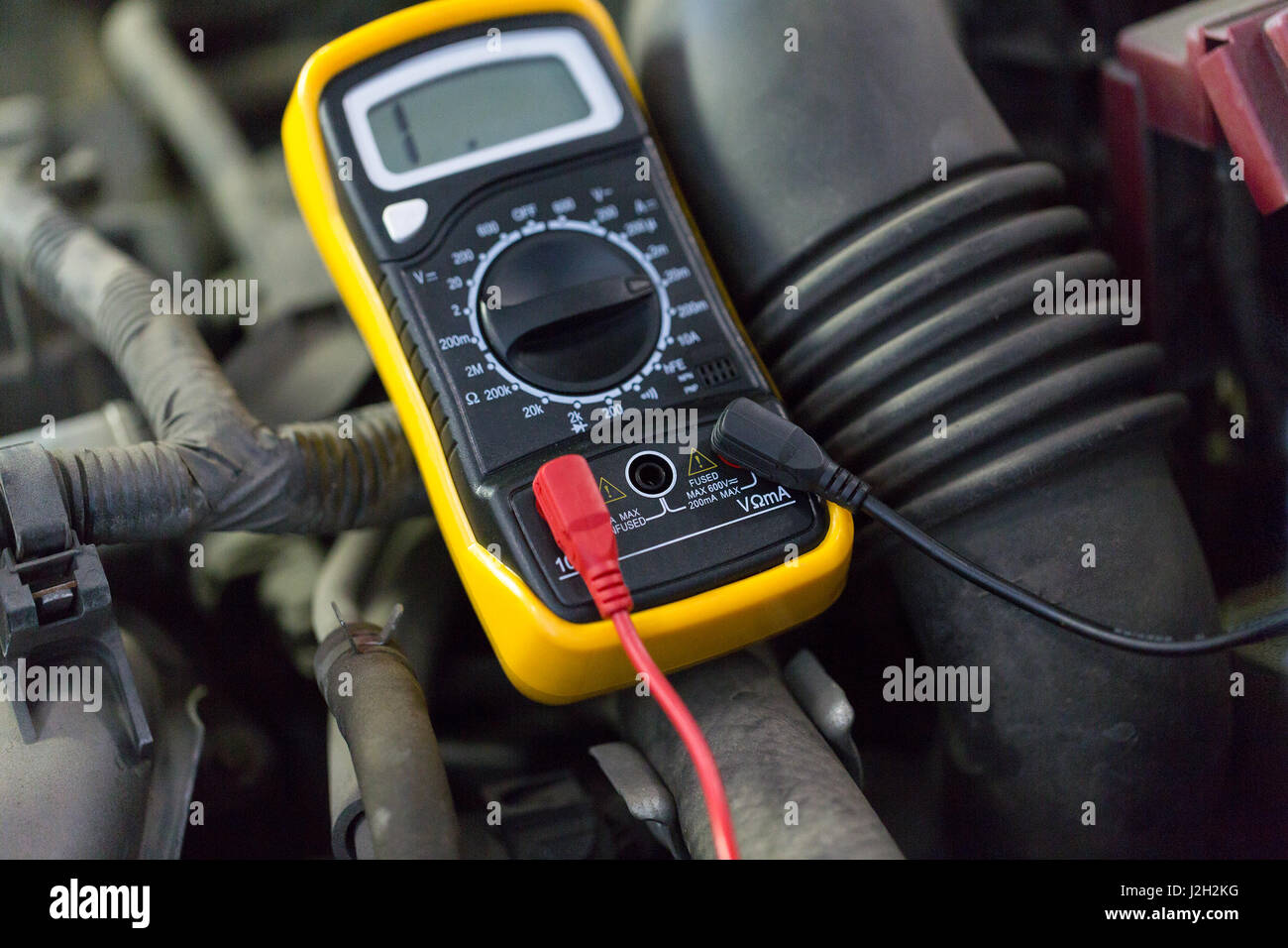 Multimeter Or Voltmeter Testing Car Battery Stock Photo 139287556