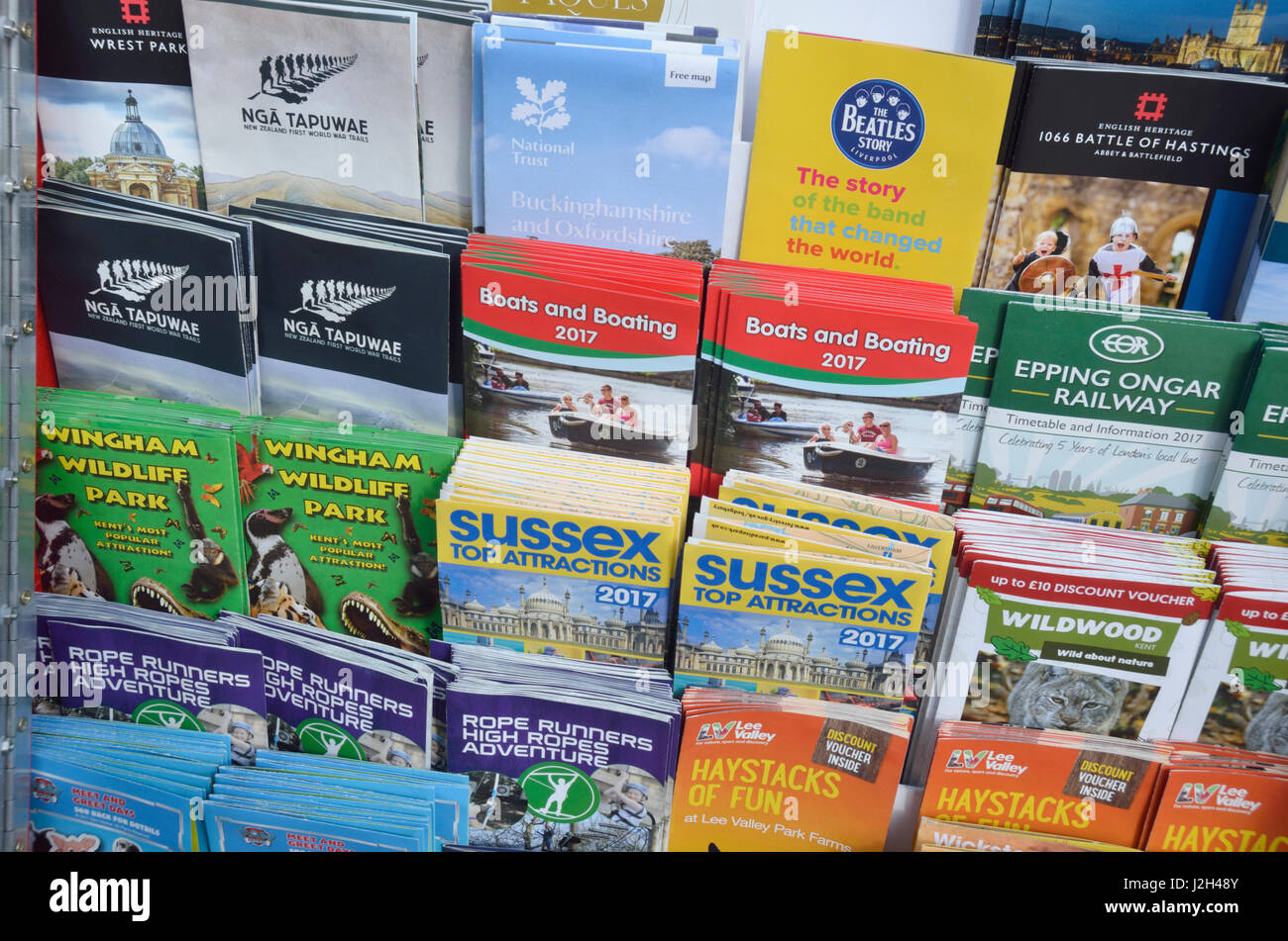 Tourist leaflets relating to the the South East of England. - Stock Image