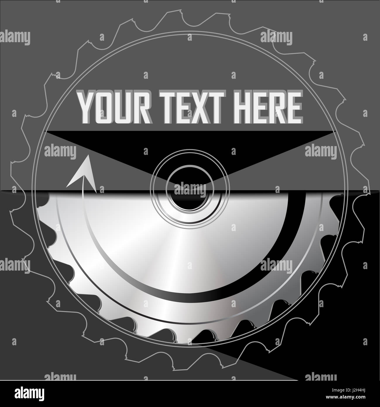 Circular saw blade on the dark background. Place for text. Vector illustration - Stock Image