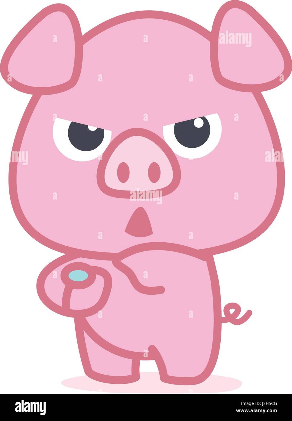 character of pink pig cartoon stock vector art illustration