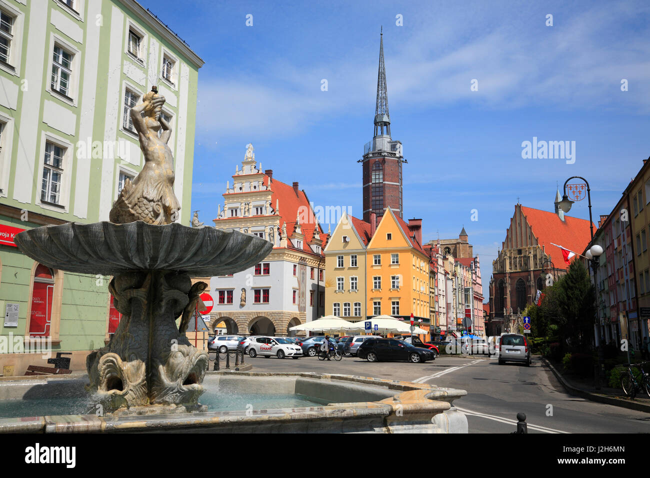 Triton fountain, Market square Rynek, Nysa (Neisse), Silesia Stock ...