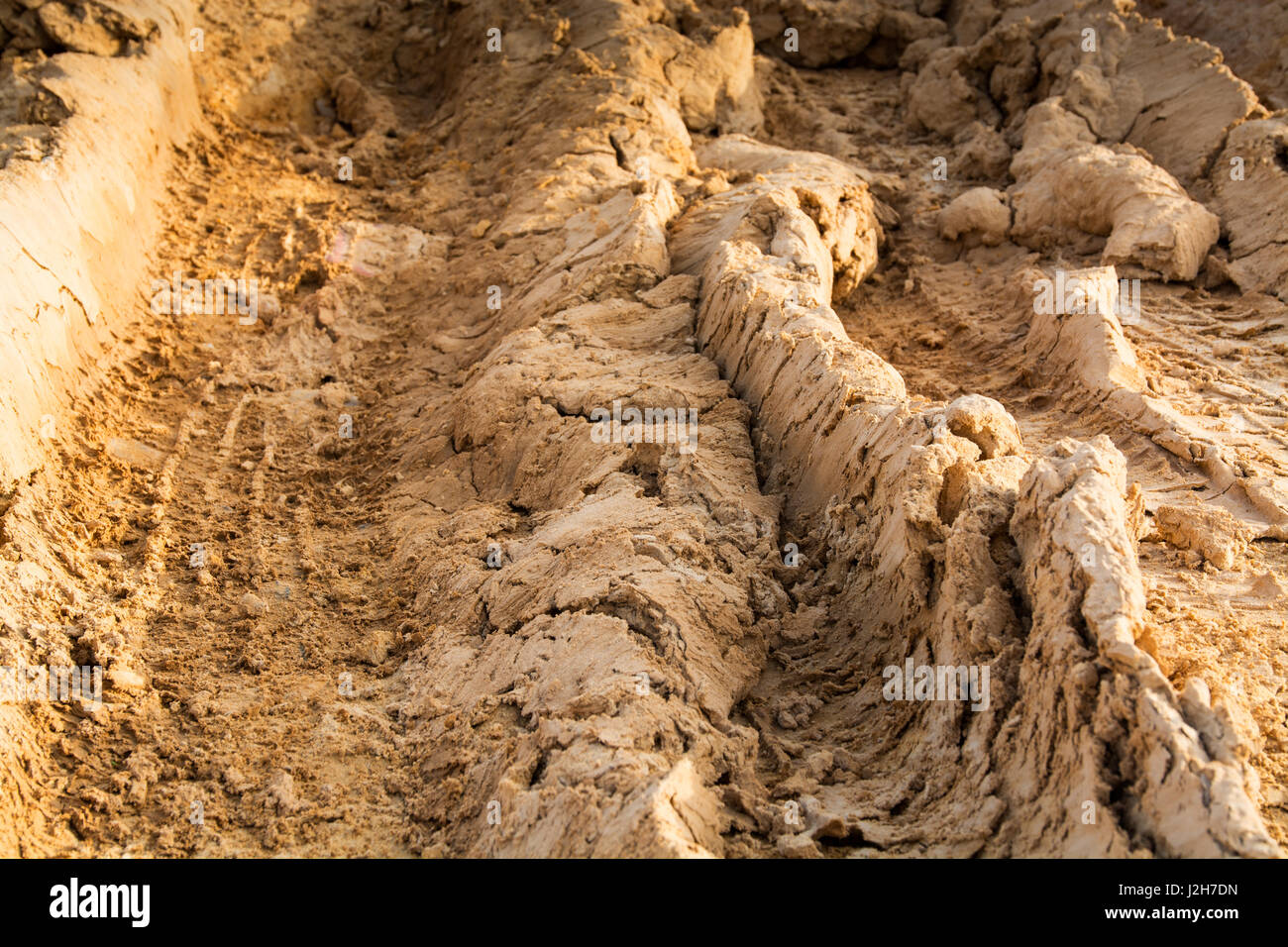 tire marks on dirt in brown tones - Stock Image