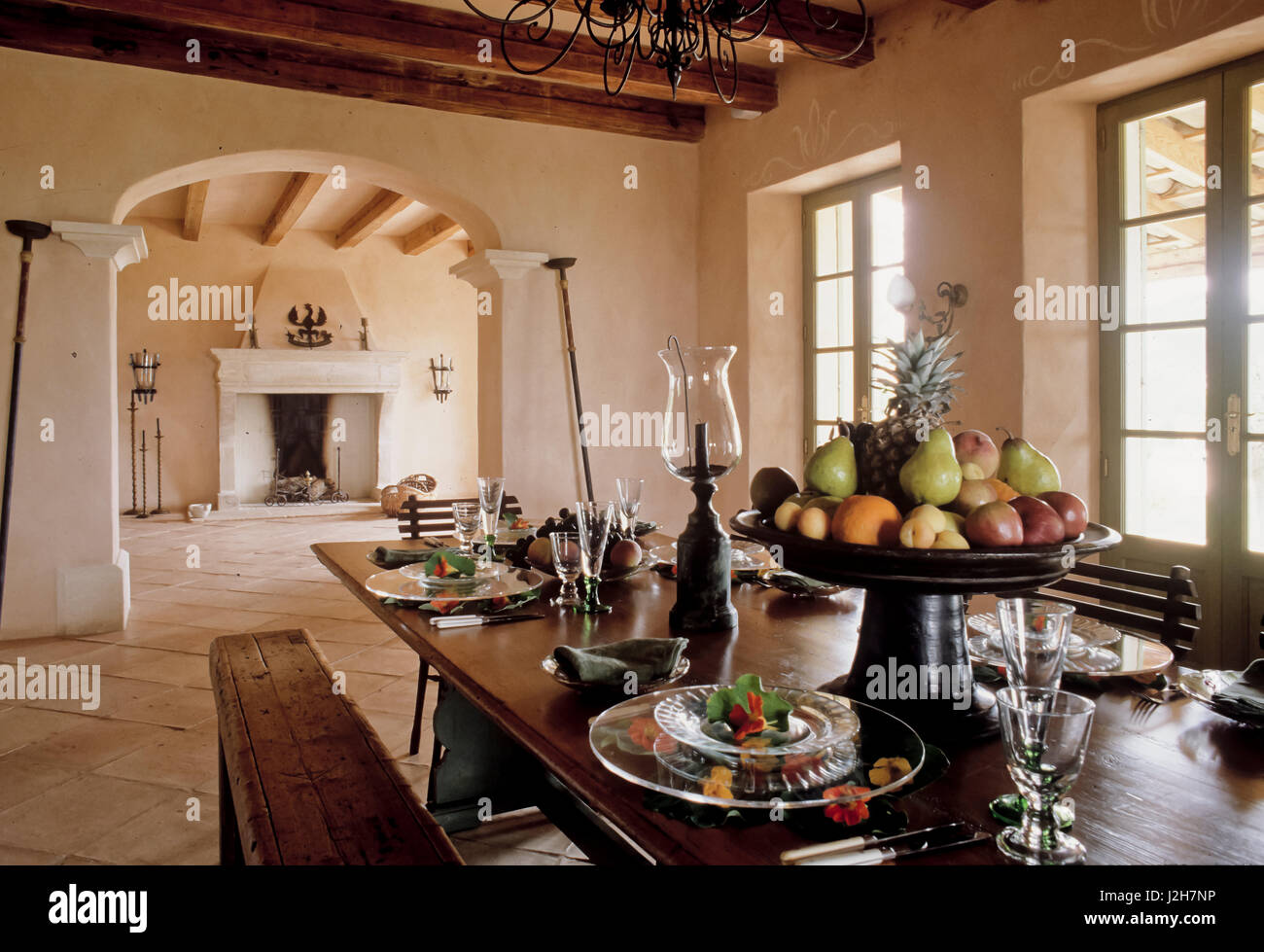Spanish Style Dining Room Stock Photo Alamy