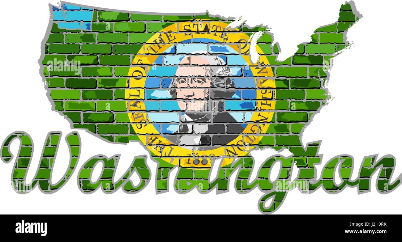 Washington on a brick wall - Illustration, Font with the Washington flag,  Washington map on a brick wall - Stock Vector