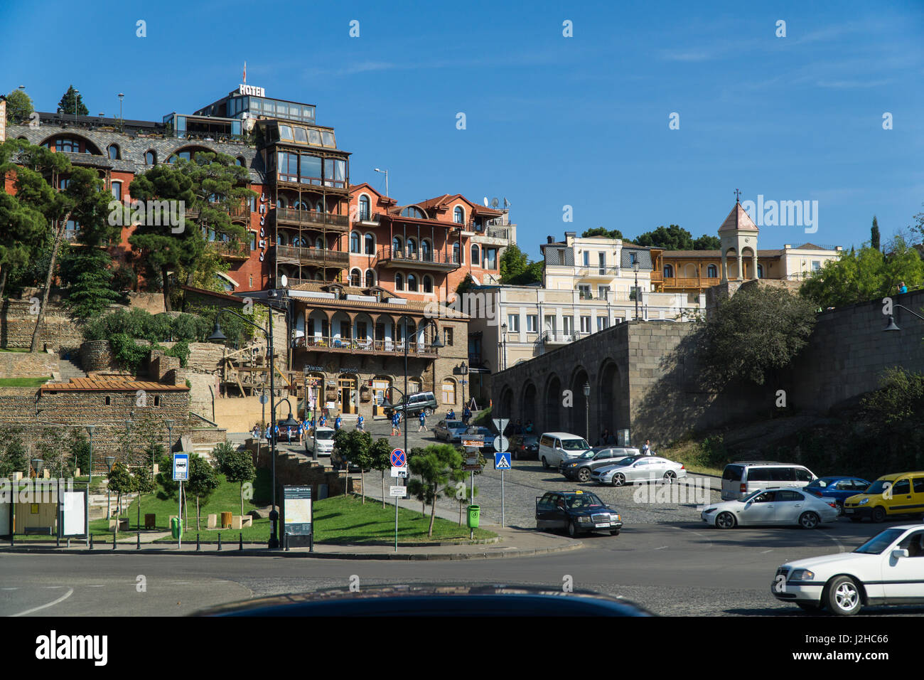 TBILISI, GEORGIA-SEP 25, 2016: Europe square in the old town Stock Photo