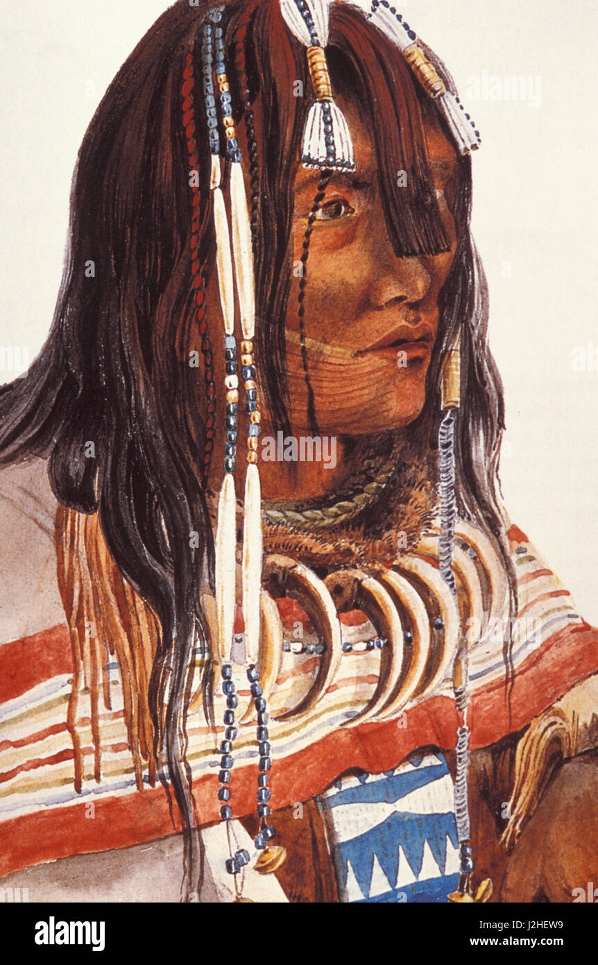 Historic 1830's painting by Caitlin of a Piegan man named Child of the Wolf who wears a bear claw necklace - Stock Image