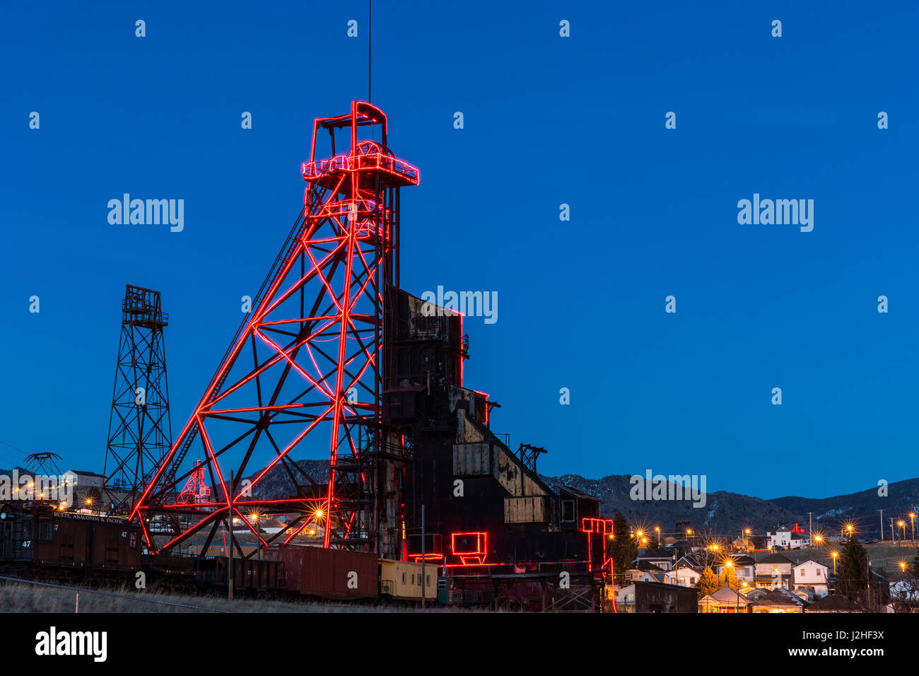 Old mining gallows headframes in Butte, Montana, USA - Stock Image