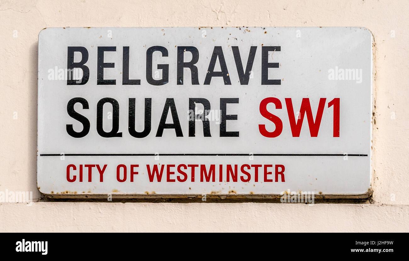 Belgrave Square SW1 sign, London, UK. - Stock Image