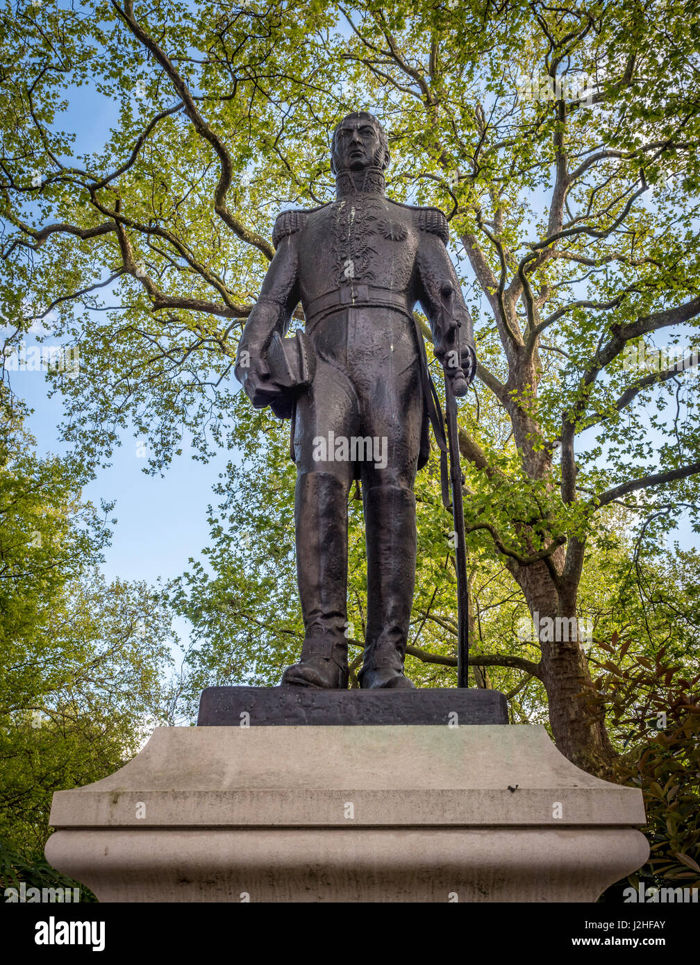 Statue of Don Jose de San Martin in Belgrave Square, London. Sculptor:  (Argentina). - Stock Image