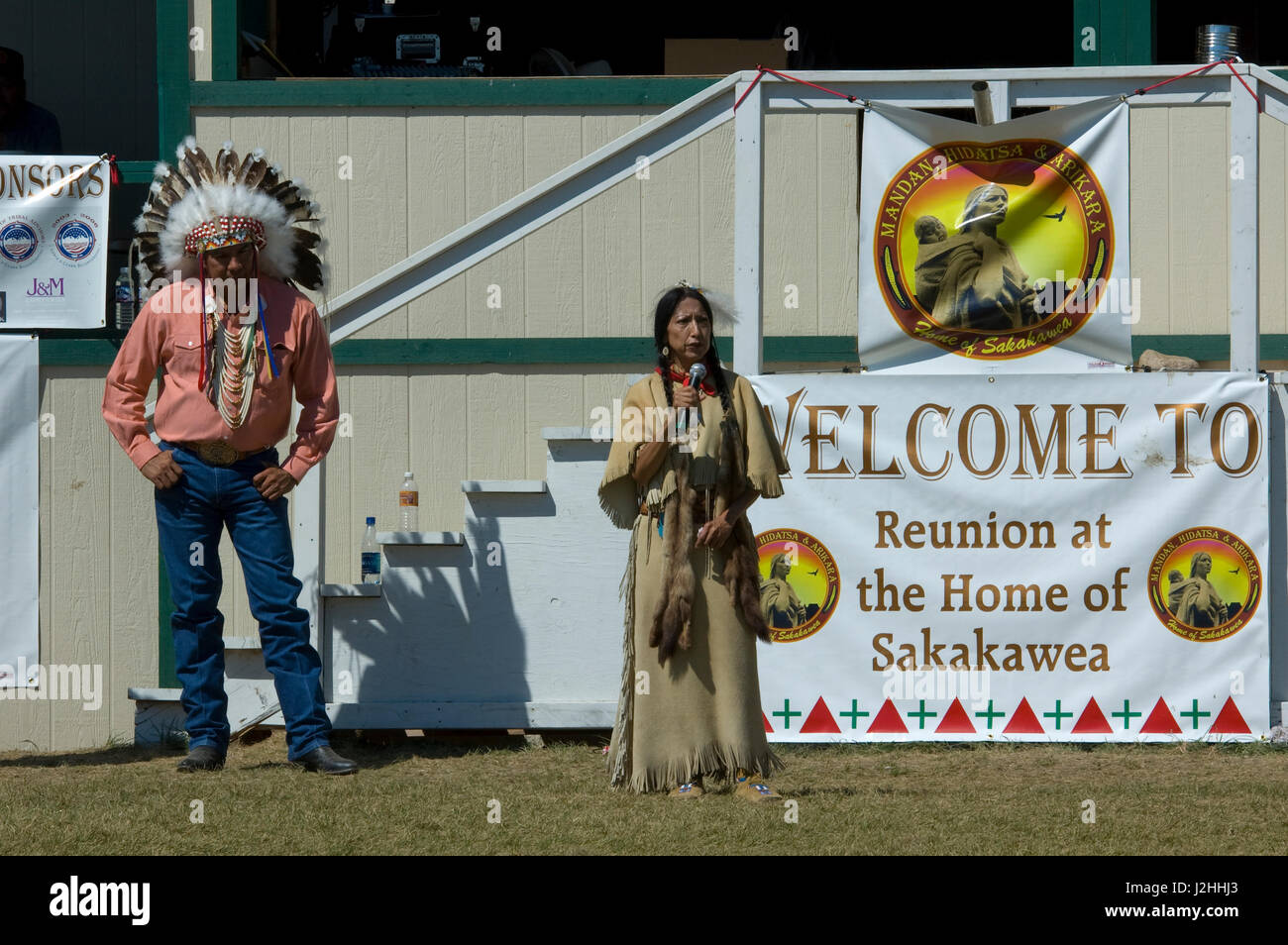 Reunion at the Home of Sakakawea Festival celebrated the Lewis and Clark Trail Bi-Centennial with Chief Tex Hall - Stock Image