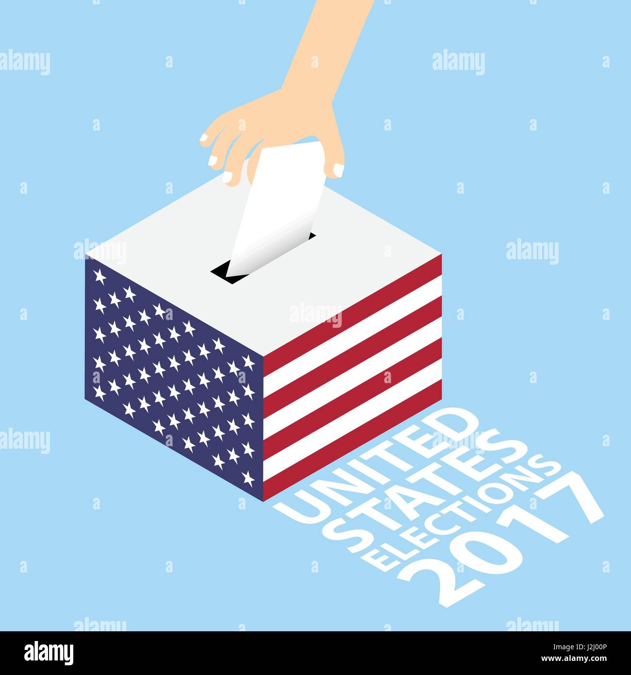 United States (US) Elections 2017 Vector Illustration Flat Style - Hand Putting Voting Paper in the Ballot Box - Stock Image
